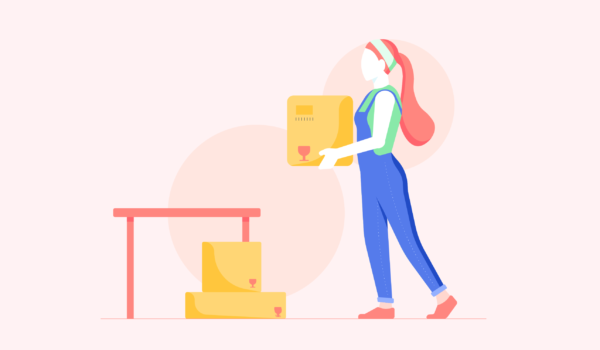 Girl Moving Boxes Illustration by Iconscout Freebies on Iconscout
